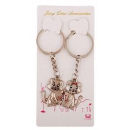 Два метални ключодържателя - две котенца държащи сърце, закрепени с магнит