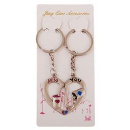 Ключодържател за влюбени от две части закрепени с магнитче - сърце