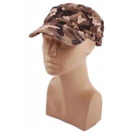 Спортна лятна шапка от плат с козирка в камуфлажен десен