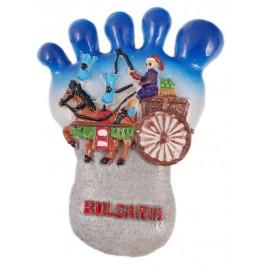 Декоративна релефна фигурка с магнит - стъпало - каручка с кон