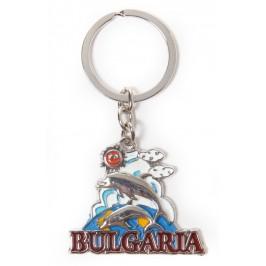 Сувенирен метален ключодържател - морски мотиви и надпис България