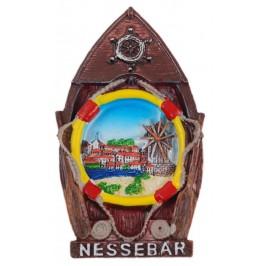 Декоративна релефна фигурка с магнит - лодка - Несебър