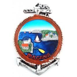 Сувенирна фигурка котва с магнит - морски залив и къщи