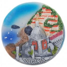 Декоративна релефна фигурка с магнит - параклис, къщи и морски бряг