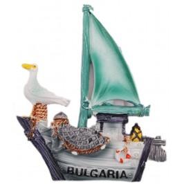 Декоративна релефна фигурка с магнит - платноходка с чайка