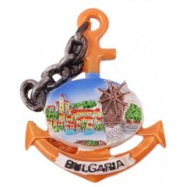 Сувенирна магнитна фигурка котва с верига - вятърна мелница - България