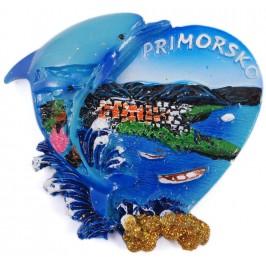 Декоративна гипсова фигурка с магнит - сърце с делфин - Приморско