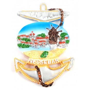 Сувенирна фигурка котва с магнит - Несебър