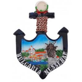 Сувенирна фигурка котва с магнит - Вятърната мелница в Несебър