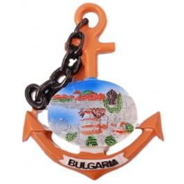 Сувенирна магнитна фигурка котва с верига - вятърна мелница с къщи около нея- България