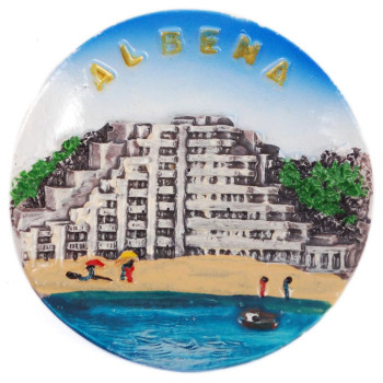 Декоративна релефна фигурка с магнит - хотел с плажна ивица