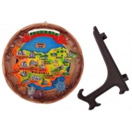 Сувенирна релефна чиния - картна на Бъглария и туристически забележителности