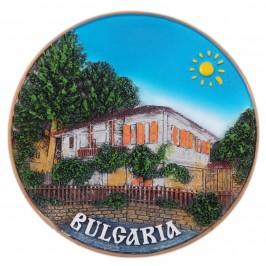 Сувенирна релефна чиния - старинна къща и надпис България