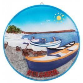 Сувенирна релефна чиния - лодки и надпис България