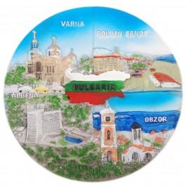 Сувенирна релефна чиния от порцелан - изгледи от Черноморието