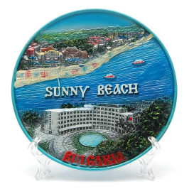 Сувенирна релефна чинийка с пластмасова поставка и кукичка за закачване - морски мотиви, Слънчев бряг