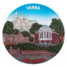 Сувенирна релефна чиния от порцелан - забележителности от Варна