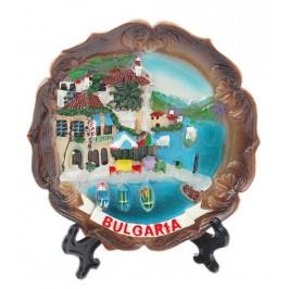 Сувенирна релефна чинийка с пластмасова поставка и кукичка за закачване - морски мотиви, България