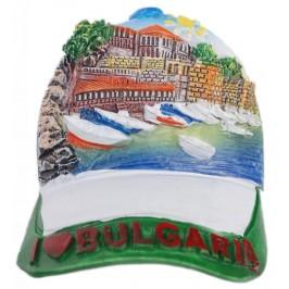 Декоративна магнитна фигурка - шапка с козирка - лодки на пристан