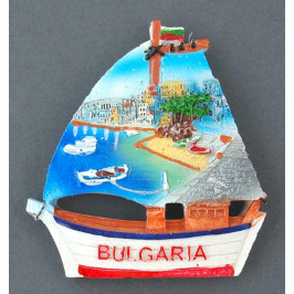 Декоративна релефна фигурка с магнит - платноходка - морски пейзаж, България