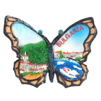 Релефна фигурка с магнит във формата на пеперуда - къщи и морски мотиви, България