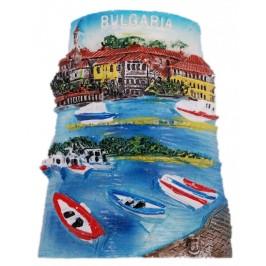 Декоративна релефна фигурка с магнит - морски пейзаж с лодки