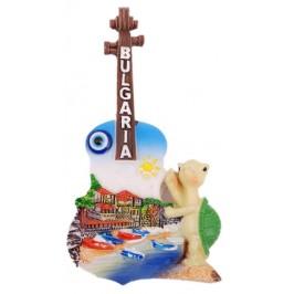Декоративна фигурка китара с магнит и синьо око за късмет - пристан с лодки