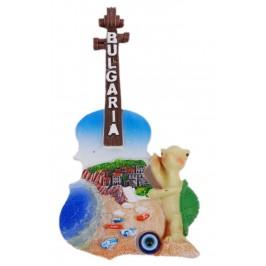 Декоративна фигурка китара с магнит и синьо око за късмет - пясъчна ивица с лодки