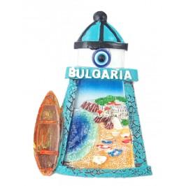 Декоративна фигурка с магнит и синьо око - фар - пясъчна ивица с лодки