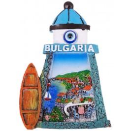 Декоративна фигурка с магнит и синьо око - фар - лятна тераса с изглед към морето