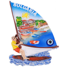 Декоративна фигурка с магнит и синьо око - сърф - пристан с лодки