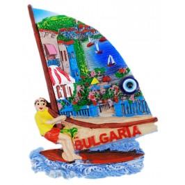 Декоративна фигурка с магнит и синьо око - сърф - лятна тераса
