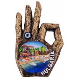 Декоративна релефна фигурка с магнит и синьо око- длан - пристан с лодки