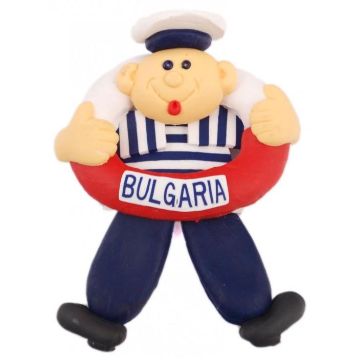 Сувенирна гумена фигурка с магнит - моряк с пояс и надпис България