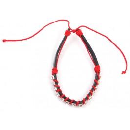 Кожена гривна, декорирана с 14 диаманта и червено въже