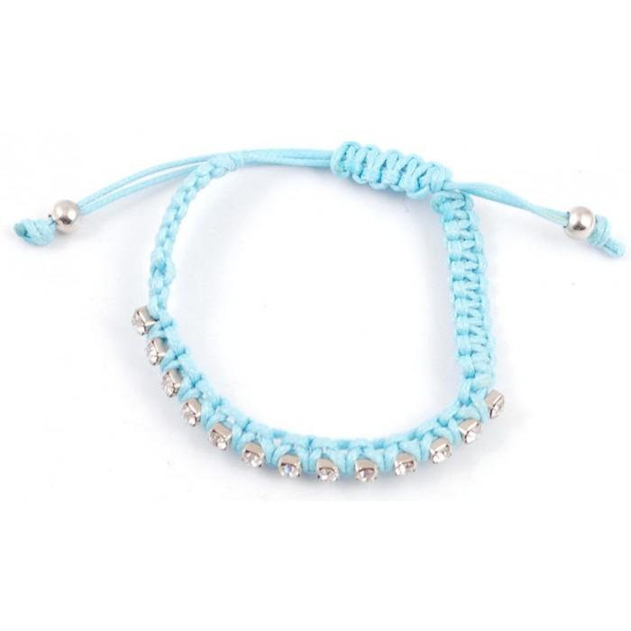 Плетена синя гривна, декорирана с 14 диаманта