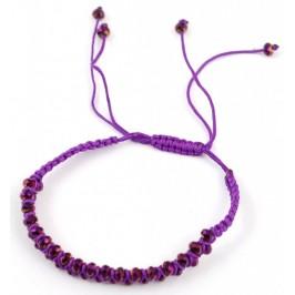 Плетена лилава гривна, декорирана с 35 бр