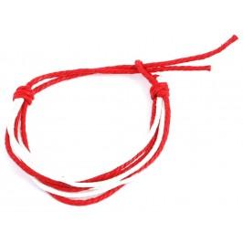 Мартеница гривна, изработена от осем червени и бели конеца