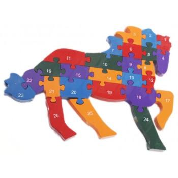 Дървен пъзел - 26 части с латински букви и цифри - кон в галоп