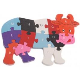 Дървен пъзел - 26 части с латински букви и цифри - крава
