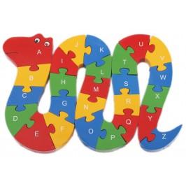 Дървен пъзел - 26 части с латински букви и цифри - змия