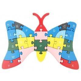 Дървен пъзел, състоящ се от 26 части с латински букви и цифри - пеперуда