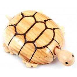 Сувенирна дървена фигурка - костенурка на колелца с подвижна глава и опашка