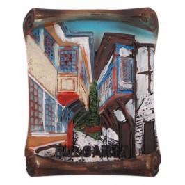 Декоративна фигурка с магнит - улица със старинни къщи