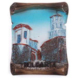 Декоративна фигурка с магнит - каменна улица с църква
