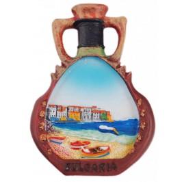 Декоративна фигурка с магнит - ваза - морски пейзаж с лодки и къщи в далечината