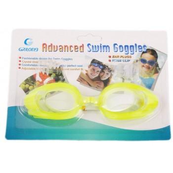 Очила за плуване в комплект с тапи за уши и щипка нос, изработени от PVC материал и силикон