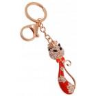 Сувенирен метален ключодържател - котка с папионка, инкрустирана с бели камъни