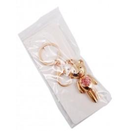 Сувенирен метален ключодържател - мече със сърце от цветни камъни