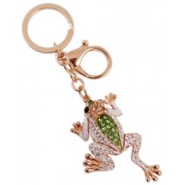 Сувенирен метален ключодържател - жаба с корона, инкрустирана с бели и цветни камъни
